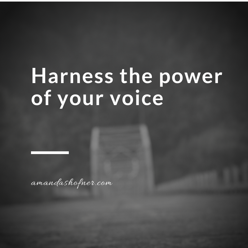 A blurred image of an old bridge with text overlaid that says harness the power of your voice